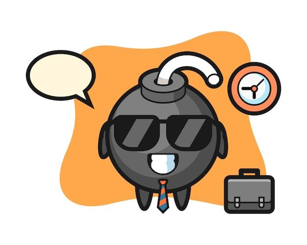 Kreskówka maskotka bomby jako biznesmen