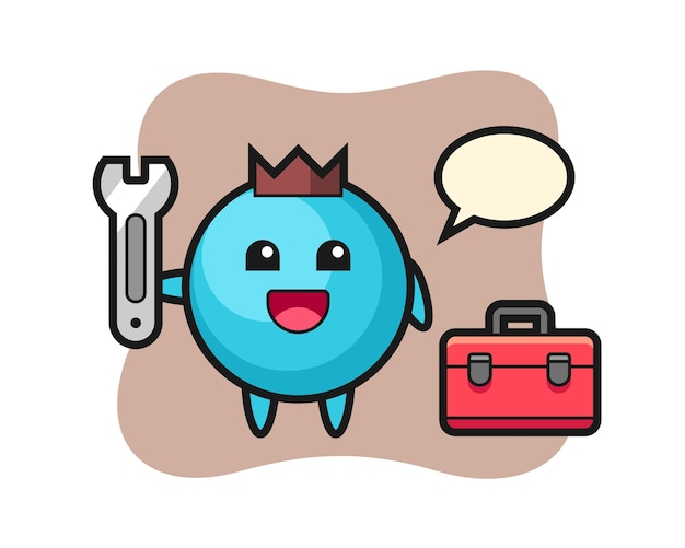 Kreskówka maskotka borówki jako mechanik