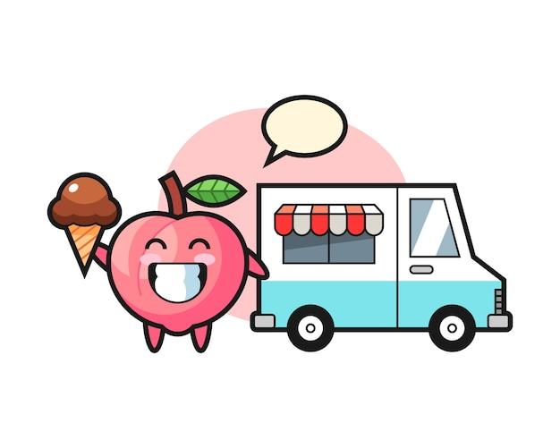Kreskówka maskotka brzoskwinia z ciężarówką z lodami, ładny styl na koszulkę