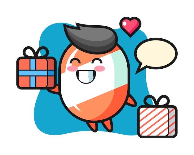 Kreskówka maskotka cukierki, dając prezent