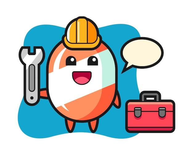 Kreskówka maskotka cukierków jako mechanik