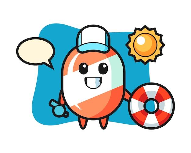Kreskówka maskotka cukierków jako strażnik na plaży