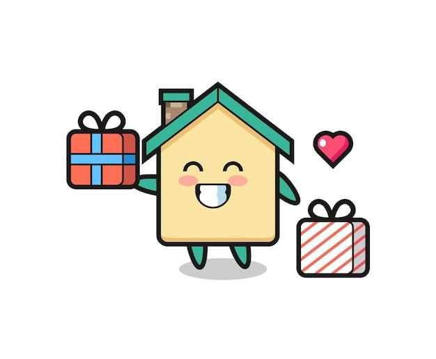 Kreskówka maskotka domu dająca prezent, ładny design