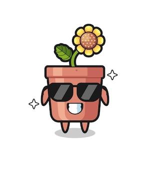Kreskówka maskotka garnka słonecznika z fajnym gestem, ładny styl na koszulkę, naklejkę, element logo
