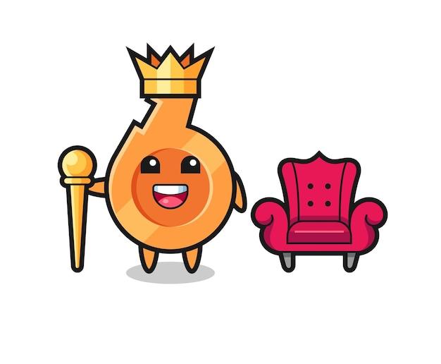 Kreskówka maskotka gwizdka jako króla, uroczy design