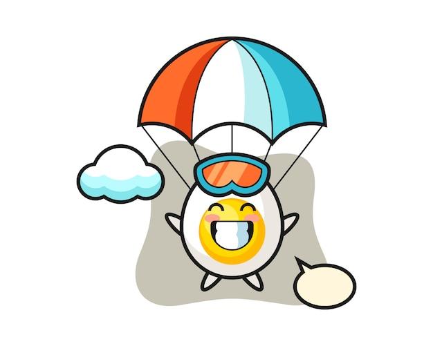 Kreskówka maskotka jajko na twardo skacze ze spadochronem z radosnym gestem