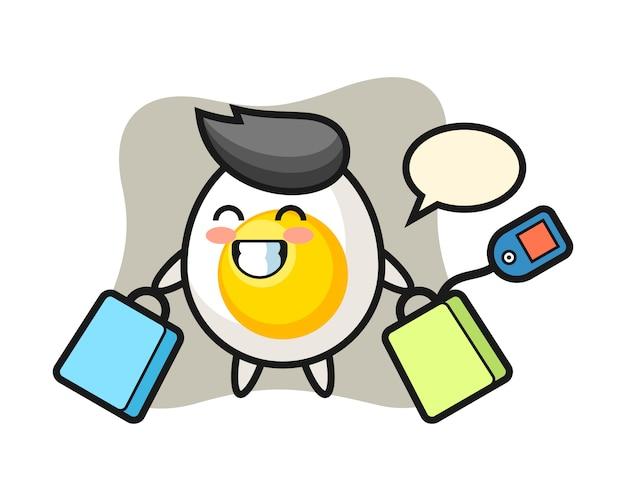 Kreskówka maskotka jajko na twardo trzyma torbę na zakupy