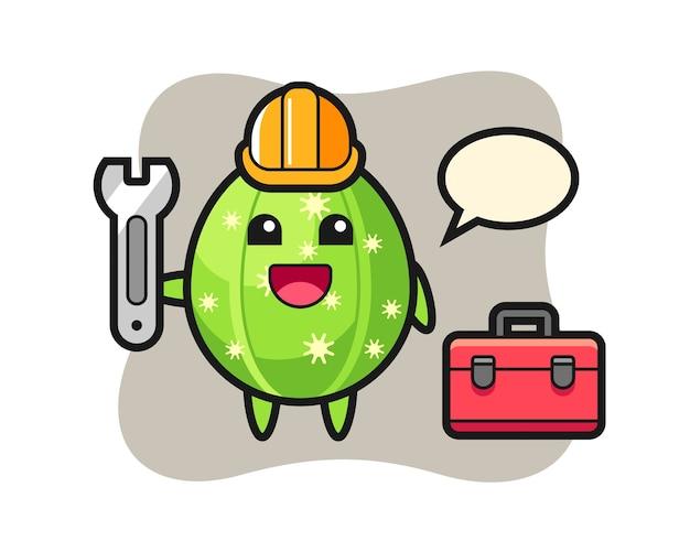 Kreskówka maskotka kaktusa jako mechanika