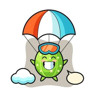 Kreskówka maskotka kaktusa skacze ze spadochronem z radosnym gestem