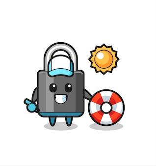 Kreskówka maskotka kłódki jako strażnik plażowy, ładny styl na koszulkę, naklejkę, element logo