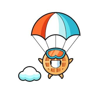 Kreskówka maskotka koło wafel jest skokiem spadochronowym ze szczęśliwym gestem, uroczym wzorem