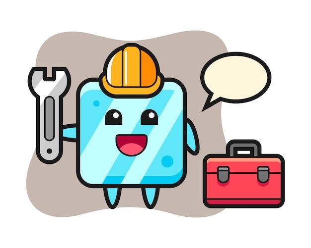 Kreskówka maskotka kostki lodu jako mechanik
