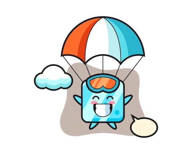 Kreskówka maskotka kostki lodu skacze ze spadochronem z radosnym gestem