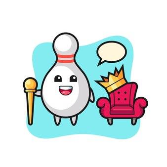 Kreskówka maskotka kręgli jako króla, ładny styl na koszulkę, naklejkę, element logo