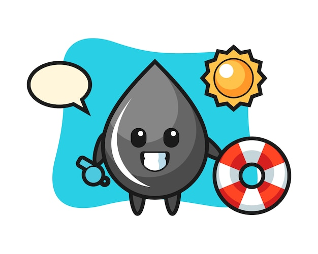 Kreskówka maskotka kropli oleju jako strażnik na plaży
