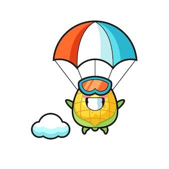 Kreskówka maskotka kukurydzy to skoki spadochronowe z szczęśliwym gestem, ładny styl na koszulkę, naklejkę, element logo