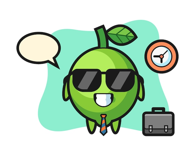 Kreskówka maskotka limonki maskotka kreskówka wapna jako biznesmen, ładny styl, naklejka, element logo