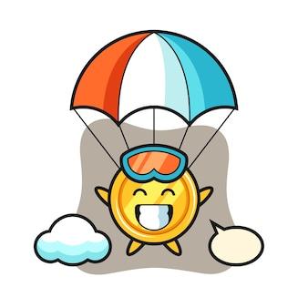 Kreskówka maskotka medal skacze ze spadochronem z radosnym gestem