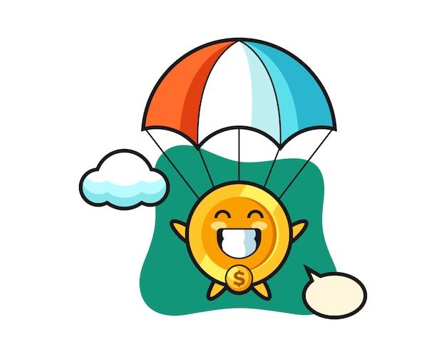 Kreskówka maskotka monety dolara skacze ze spadochronem z radosnym gestem