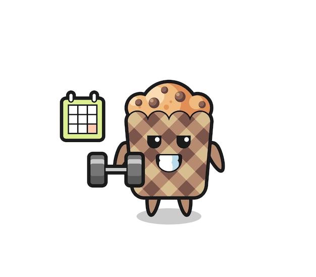Kreskówka maskotka muffin robi fitness z hantlami, ładny design