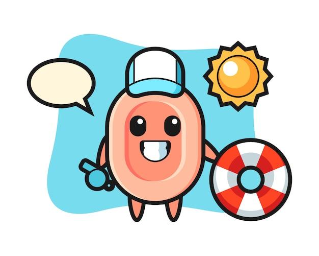 Kreskówka maskotka mydła jako strażnik plażowy, ładny styl na koszulkę, naklejkę, element logo