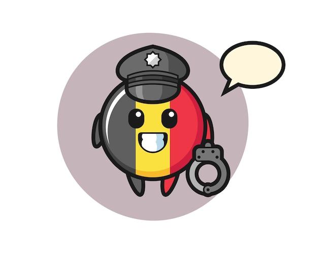Kreskówka maskotka odznaka flaga belgii jako policja