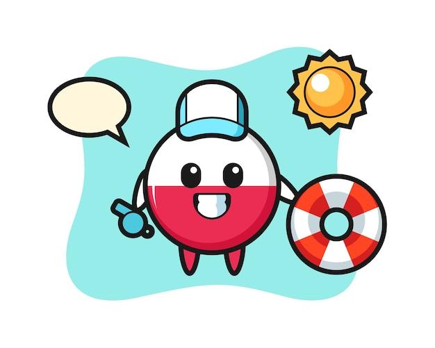 Kreskówka maskotka odznaka flaga polski jako strażnik plażowy
