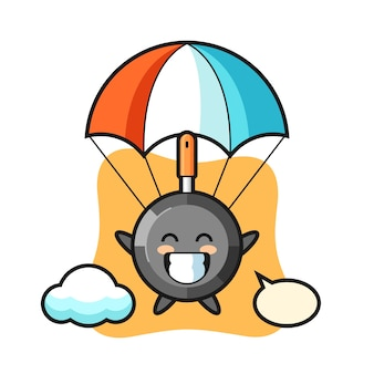 Kreskówka maskotka patelnia skacze ze spadochronem z radosnym gestem