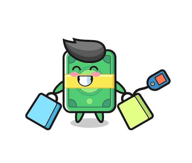 Kreskówka maskotka pieniądze trzymając torbę na zakupy, ładny styl na koszulkę, naklejki, element logo