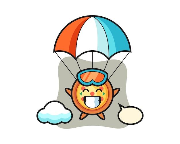 Kreskówka maskotka pizzy skacze ze spadochronem z radosnym gestem