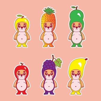 Kreskówka maskotka psa z kostiumem owocowym