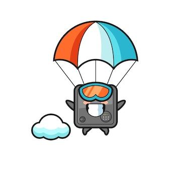 Kreskówka maskotka sejfu to skok spadochronowy ze szczęśliwym gestem, ładny styl na koszulkę, naklejkę, element logo