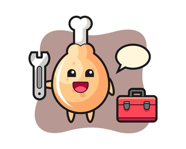 Kreskówka maskotka smażonego kurczaka jako mechanik