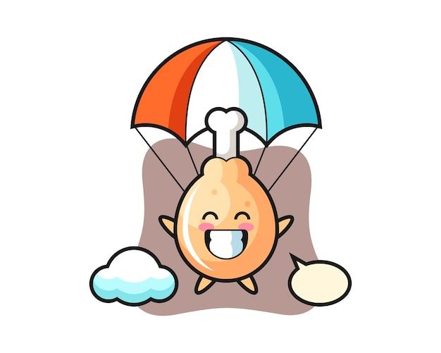Kreskówka maskotka smażonego kurczaka skacze ze spadochronem z radosnym gestem