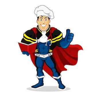 Kreskówka maskotka szefa kuchni superbohatera w wektorze