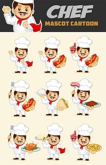 Kreskówka maskotka szefa kuchni w wektorze