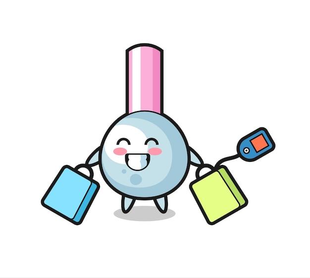 Kreskówka maskotka wacika trzyma torbę na zakupy, ładny styl na koszulkę, naklejkę, element logo