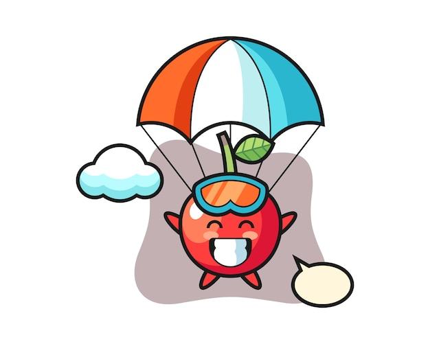 Kreskówka maskotka wiśnia skacze ze spadochronem z radosnym gestem, ładny styl