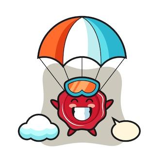 Kreskówka maskotka wosku uszczelniającego skacze ze spadochronem z radosnym gestem