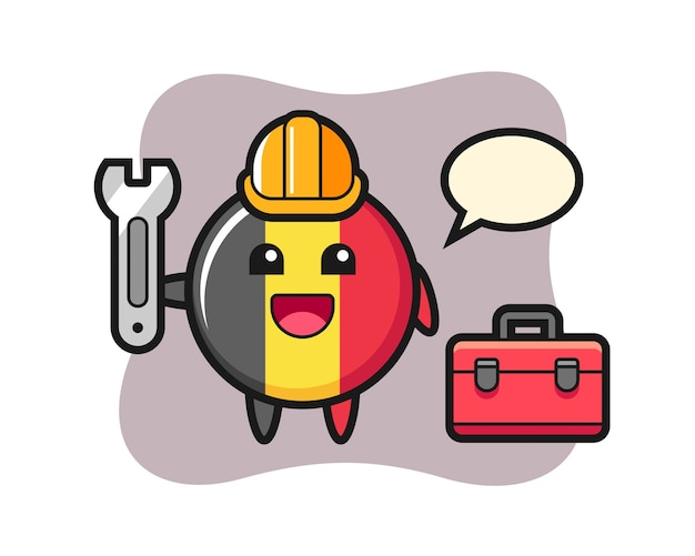 Kreskówka maskotka z odznaką flagi belgii jako mechanik