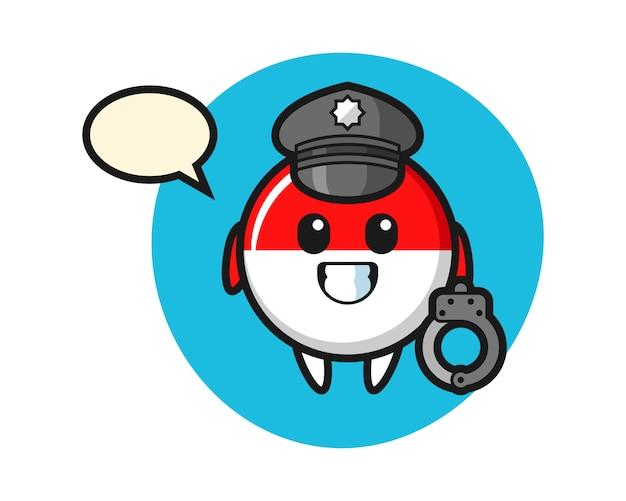Kreskówka maskotka z odznaką flagi indonezji jako policja
