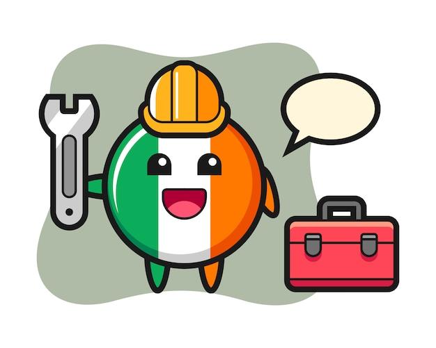 Kreskówka maskotka z odznaką flagi irlandii jako mechanik