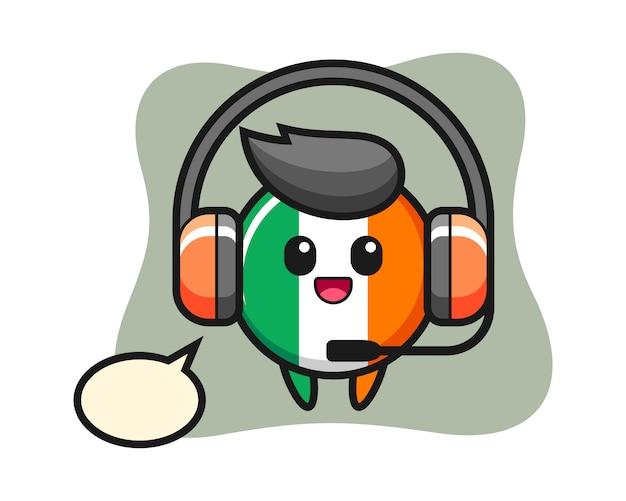 Kreskówka maskotka z odznaką flagi irlandii jako obsługa klienta