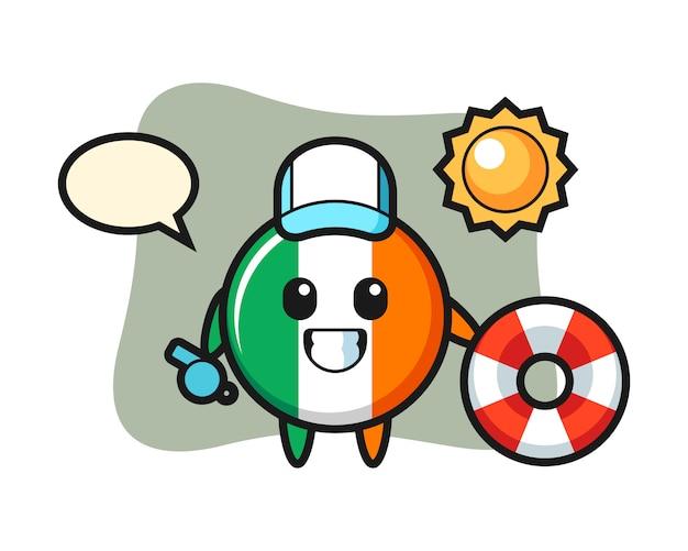Kreskówka maskotka z odznaką flagi irlandii jako strażnik plażowy