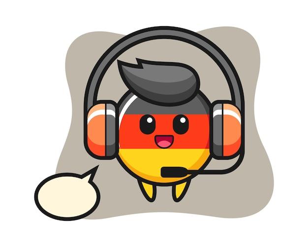Kreskówka maskotka z odznaką flagi niemieckiej jako obsługa klienta