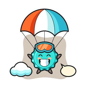 Kreskówka maskotka zakrętka skacze ze spadochronem z radosnym gestem