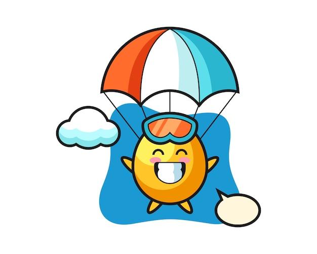 Kreskówka maskotka złote jajko skacze ze spadochronem z radosnym gestem, ładny styl