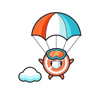 Kreskówka maskotka znaku stop to skoki spadochronowe z szczęśliwym gestem, ładny styl na koszulkę, naklejkę, element logo