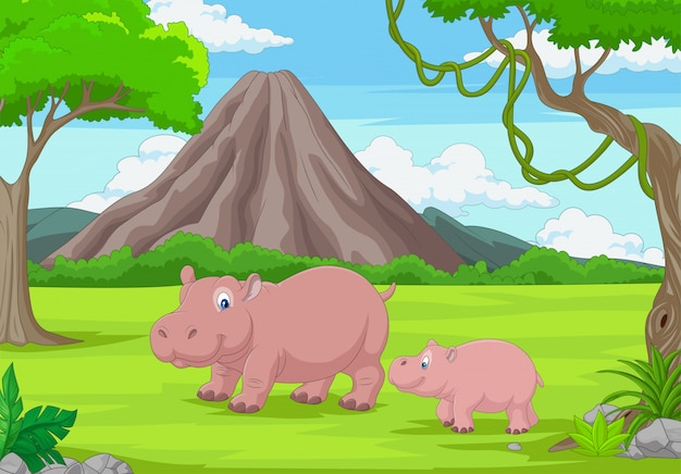Kreskówka matka i dziecko hipopotam w dżungli