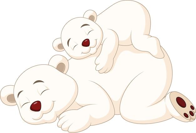 Kreskówka matka i dziecko niedźwiedź polarny spanie